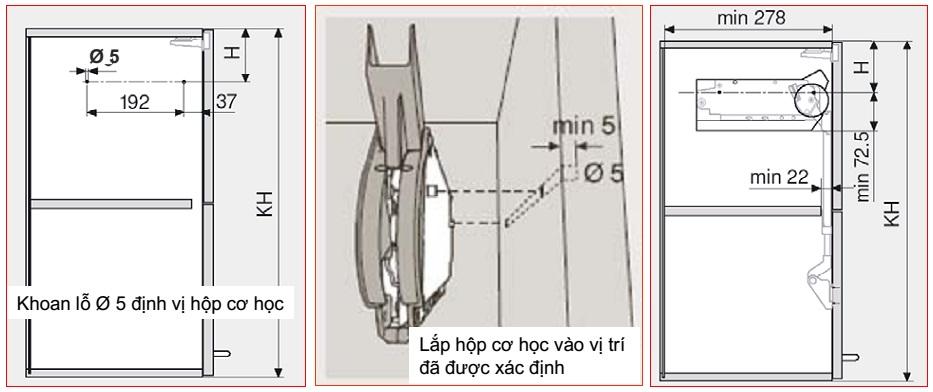 hướng dẫn lắp tay nâng blum